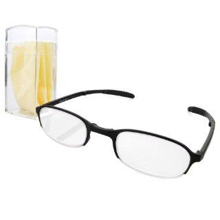 Portable Lightweight TR90 Black Half Frame Folding Reading Glasses Eyewear with Case +1.00