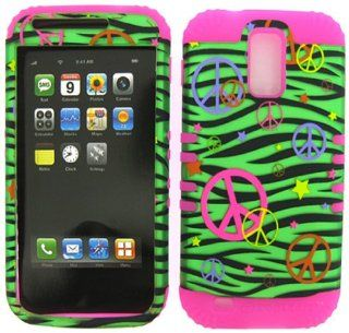 2 IN 1 Heavy Duty Hybrid Cover Case for Tmobile Hercules Samsung Galaxy S II T989  Pink Silicone / Peace Signs on Green Zebra Hard Shell Protector Cover Cell Phones & Accessories