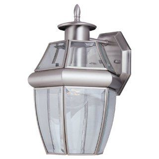 Sea Gull Lighting 8038 965 Single Light Lancaster Medium Outdoor Wall Lantern, Clear Beveled Glass and Antique Brushed Nickel   Wall Porch Lights