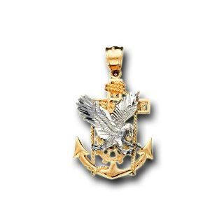 14K Yellow Two Tone Gold Eagle Anchor Charm Pendant Pendant Necklaces Jewelry