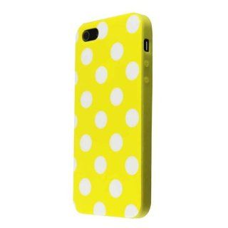 niceEshop(TM) Yellow & white Polka Dot Flex Gel TPU Case Cover fit for the new iPhone5 5S +Screen Protector Cell Phones & Accessories