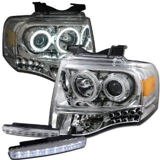 Ford Expeditional Ccfl Halo Projector Headlights Lamps + 8 Led Fog Bumper Light Automotive