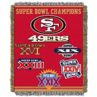 "NFL San Francisco 49ers 5 Time Super Bowl Champions 48""x60"" Blanket Throw  Sports Fan Throw Blankets  Sports & Outdoors"