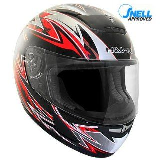 HAWK Snell/DOT Approved SWIFT Black and Red Full Face Motorcycle Helmet Automotive