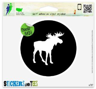 "Moose Circle Black Car Sticker Indoor Outdoor 2"" x 2"" Automotive"