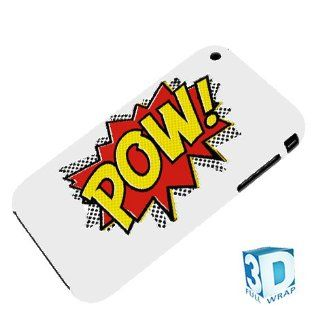 POP ART POW White iPhone 3g 3gs High Gloss Phone Cover Case Photo Quality   3D Full Wrap Design