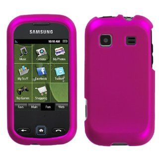 Hard Plastic Snap on Cover Fits Samsung M380 Trender Titanium Solid Hot Pink Rubberized Sprint Cell Phones & Accessories