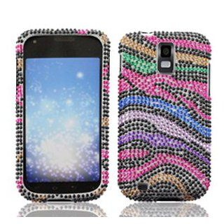 Samsung Galaxy S II S2 S 2 / SGH T989 T Mobile TMobile / Hercules Cell Phone Full Crystals Diamonds Bling Protective Case Cover Black with Rainbow Color Zebra Animal Skin Design Cell Phones & Accessories