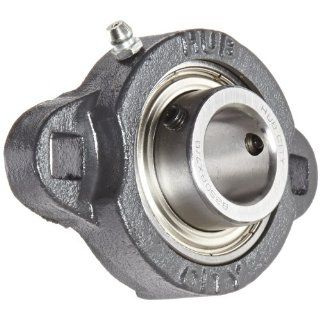 "Hub City FB160URX7/8 Flange Block Mounted Bearing, 2 Bolt, Light Duty, Relube, Setscrew Locking Collar, Narrow Inner Race, Ductile Housing, 7/8"" Bore, 1.2"" Length Through Bore, 2.992"" Mounting Hole Spacing"