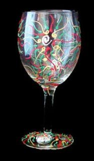 Regal Poinsettia Design Hand Painted Grande Wine Glass Kitchen & Dining