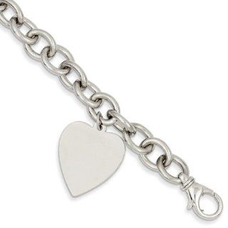 14k White Gold 8.5in Polished Engravable Link Heart Charm Bracelet/Wt 31.26g Jewelry