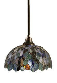Toltec Lighting 26 BC 995 Stem Pendant Light Black Copper Finish with Blue Mosaic Tiffany Glass, 16 Inch   Ceiling Pendant Fixtures
