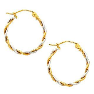 "14K Yellow and White 2 Two Tone Gold Twisted Hoop Earrings (0.7"" or 17mm Diameter) Jewelry"