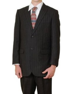 New Men's Wool Super 130s 2 Button Black Pinstripe Dress Suit at  Men�s Clothing store