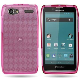 EMAXCITY Brand Flexible HOT PINK TPU Soft Cover Case with CHECKERED PLAID Design MOTOROLA XT881 ELECTRIFY 2 US CELLULAR [WCP377] Cell Phones & Accessories