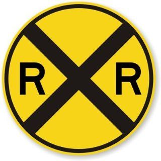 "SmartSign MUTCD # W10 1 3M High Intensity Grade Reflective Sign, ""Railroad crossing"", 30"" diameter circle, Black on Yellow Yard Signs"
