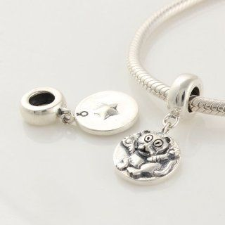 925 Sterling Silver Ring Shape Charm with Chinese Zodiac Tiger Dangle for Pandora, Biagi, Chamilia, Troll and More Bracelets Jewelry