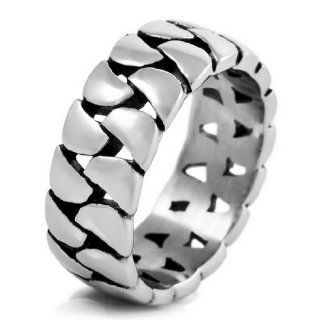 JBlue Jewelry Men's 316L Stainless Steel Band Ring Silver Black Hollow Openwork High Quality Wedding (with Gift Bag) Cheap Men S Rings Jewelry