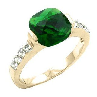 2.00 Ct Cushion Cut Emerald Cz Cubic Zirconia Tension Set Ring with Round Stones on Either Side   Size 5 Jewelry
