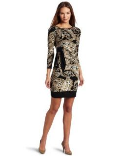 Donna Morgan Women's Side Tie Printed Jersey Dress, Sand Black, 2