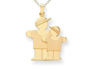 The Kids Big Boy and Little Boy Engraveable Charm Pendant Pendant Necklaces Jewelry
