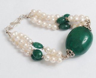 AAA Quality Natural Green Emerald & Fresh Water Pearl Beaded Fresh Water Bracelet Jewelry