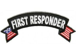 First Responder US Flags Small Rocker EMT Fire Police Vest Biker Patch PAT 2832