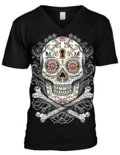 Floral Skull Men's V neck T shirt, Liquid Blue Dia De Muertos Floral Sugar Skull Design Men's V Neck Tee Novelty T Shirts Clothing