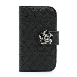 General Diamond Flower Rhombus Leather Card Wallet Case for Samsung i8190 Galaxy S3 Mini Black Cell Phones & Accessories