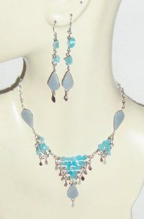 Beautiful Angelite Necklace and Earrings Set