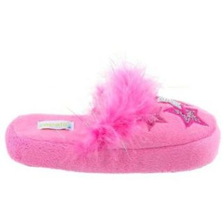 Capelli New York Soft Boa Scuff With 3 Star Applique Girls Indoor Slippers Pink Combo X large Shoes