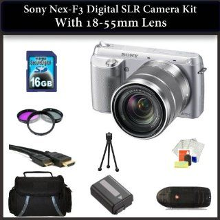 Sony NEX F3 Digital SLR Camera Kit with 18 55mm Lens(Silver). Also Includes 3 Piece Filter Kit(UV CPL FLD), 16GB Memory Card, Memory Card Reader, Extended Life Replacement Battery, HDMI Cable, Table Top Tripod, LCD Screen Protectors, Cleaning Kit & La