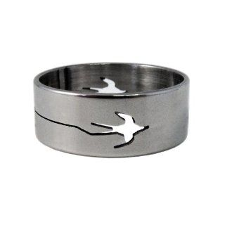 1x 8mm Flat Stainless Steel Ring Band, Hollow Engraved Bird Design   Size 18 (Also available in size 19)