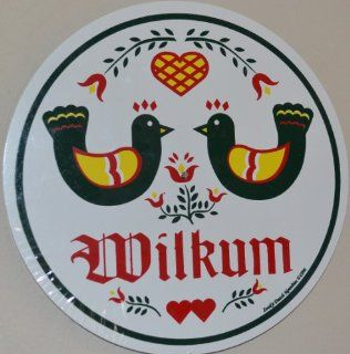 "23 1/2 Inch Diameter Double Wilkum ""Welcome Sign"" Shows 2 Distelfinks (The Pa Dutch Good Luck Bird) Looking At Each Other (Adding Love & Understanding to the Sign) Plus 2 Birds, 1 Heart. They Are Sitting on Top of the Trinity Flowers Represen"