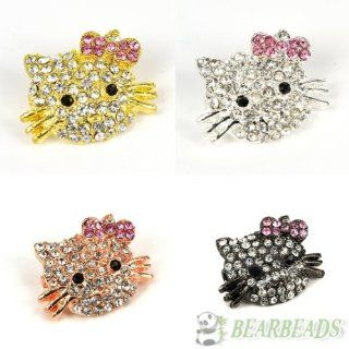 10pcs (Color Gold) Side Ways Crystal Rhinestones Hello Kitty Happy Cat Bracelet Connector Charm Beads