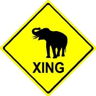 "2"" Elephant XING. Crossing zone Engineer grade reflective printed vinyl decal sticker for any smooth surface such as windows bumpers laptops or any smooth surface."