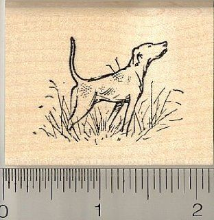 English Pointer Dog Rubber Stamp   Wood Mounted