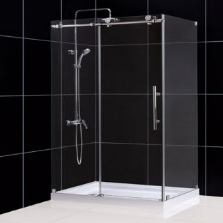 Dreamline SHEN613248008 Shower Enclosure, 32 1/2 by 48 3/8 EnigmaX Fully Frameless Sliding, Clear 3/8 Glass Polished Stainless Steel