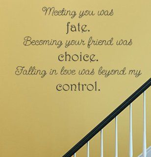 Meeting you was fate. Becoming your friend was choice. Falling in love was beyond my control. Vinyl Wall Decals Quotes Sayings Words Art Decor Lettering Vinyl Wall Art Inspirational Uplifting  Nursery Wall Decor  Baby
