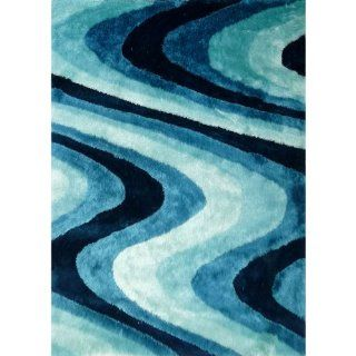 turquoise Modern Hand Carved Shag Area Rug approximately 1 inch thick Hand Tufted size 5' x 7'