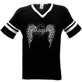 Angel Wings Mens Ringer T shirt, Angel Wings and Cross Tattoo Style Design Mens V neck Shirt Novelty T Shirts Clothing