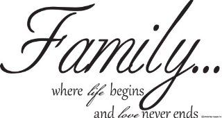 Family Wall Decals family Where Life Begins and Love Never Ends Wall Decal Saying home & Art Wall Quote Decor family Wall Quotes   Prints