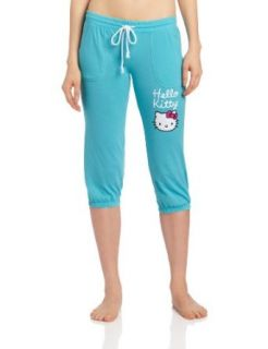 Hello Kitty Women's Solid Capri, Aqua, Small Pajama Bottoms