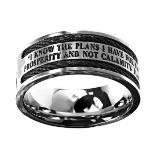"Christian Mens Stainless Steel 10mm Abstinence Black Cable ""God Grant Me the Serenity to Accept What I Cannot Change, Courage to Change What I Can, Wisdom to Know the Difference"" Cable Black Enamel Comfort Fit Chastity Ring for Boys   Guys Purity"