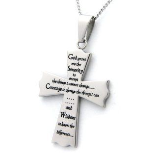 High Polished Stainless Steel Serenity Prayer Cross Pendant Necklace Jewelry