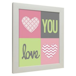 Icons   Love You Hearts Wall Art   Pink