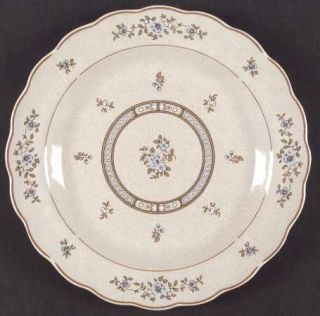Royal Doulton Dorset Dinner Plate, Fine China Dinnerware   Blue Flowers,Scallope