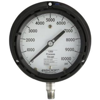 "Ashcroft Type 1259 Solid Front Thermoplastic Case Process Pressure Gauge, Stainless Steel Bourdon Tube and Socket, 4 1/2"" Dial Size, 1/4"" NPT Lower Connection, 0/10000 psig Pressure Range Industrial Pressure Gauges"