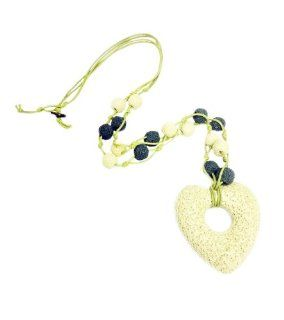 TdZ Natural Lava Rock Stone Heart Long Bead Necklace (White) Jewelry