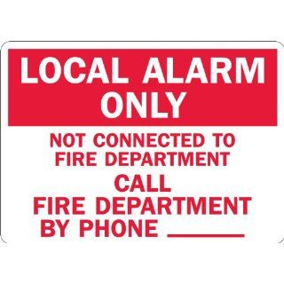 "SmartSign 3M Engineer Grade Reflective Sign, Legend ""Local Alarm Only Call Fire Department Phone _"", 7"" high x 10"" wide, Red on White Industrial Warning Signs"